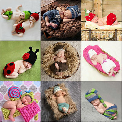 Newborn Baby Infant Girl Boy Crochet Knit Costume Photo Photography Prop Outfits