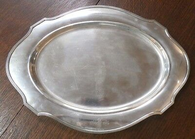 """Large Antique Sterling Tray dated 1915 w/ Monogram - 14"""" x 19"""" - 48.7 Ounces"""