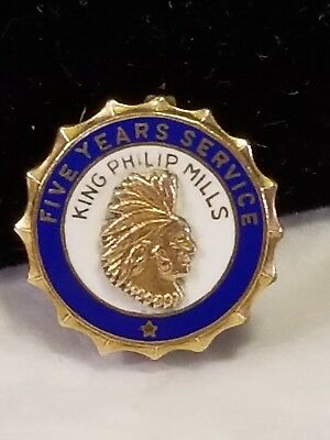 Vintage ~ Enameled with INDIAN * KING PHILIP Cotton MILLS * 5 Year Service Pin