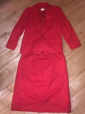 Vtg Pendleton Womens Sz 14 Business Suit Pencil Skirt Jacket Red 100% Wool 1970S