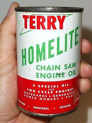 NICE 1950's TERRY HOMELITE CHAINSAW ENGINE MOTOR OIL 10oz TIN CAN CANADA SIGN