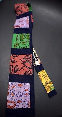 Vintage Rooster Mid Century Tie Abstract Blue Red Pink Green Square Bottom