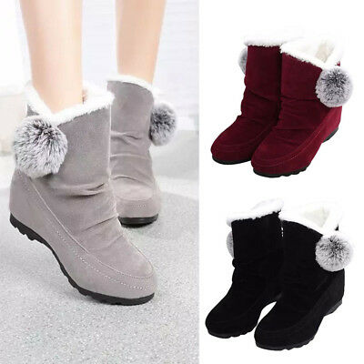 Winter Women Fashion Ankle Boots Flats Casual Shoes Warm Suede Shoes Comfortable