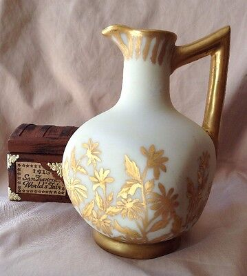 Antique Vintage French DEPOSE Hand Painted Gold Porcelain Pitcher Ewer Signed