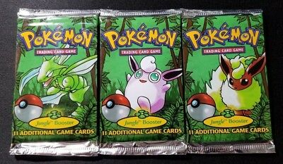 Set of 3 Pokemon Jungle Booster Packs Unlimited WOTC Fact Sealed 1999 *WEIGHED*