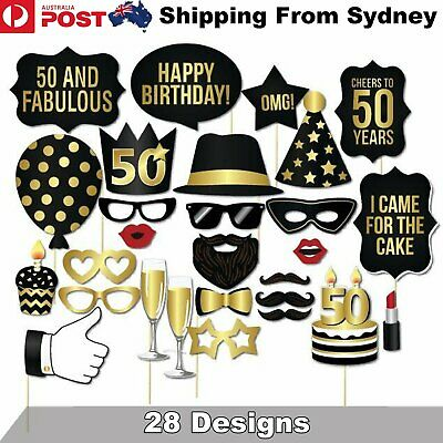 28PCS 50th Birthday Photo Booth Props Mustache Lip Stick Wedding Party Decoratio