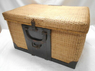 Antique Cane and Metal Travellers Basket Box Japanese Trunk C1910s #724