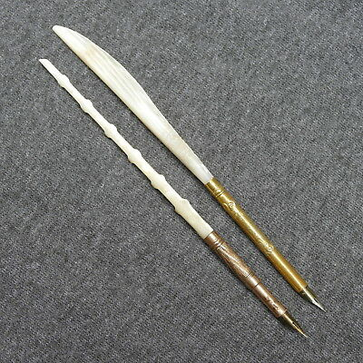 2 Antique MOP Mother of Pearl Calligraphy Dip Pens ~ Feather & Twist Handles