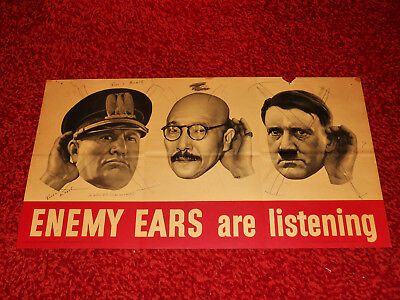 1942 US Government Printing Office Original Enemy Ears Are Listening WWII Poster