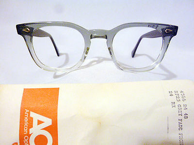 Vintage American Optical Hybrid Stadium Grey 48/24 Men's Plastic Eyeglass Frame