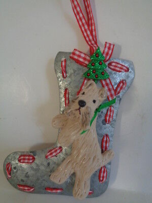 New~Wheaten Terrier X-Mas Stocking Metal Christmas Ornament**huge Ornament Sale!