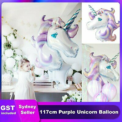 1x Huge Purple Unicorn Fantasy Horse Girls Balloon Foil Birthday Party Decoratio