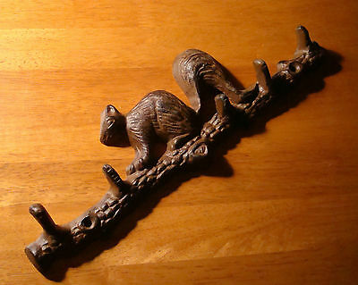 Rustic Lodge Squirrel 5 Hook Towel or Key Hanger Cabin Kitchen Home Decor NEW