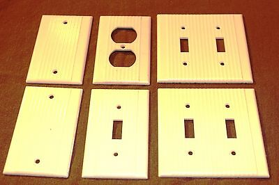Vintage UNILINE LEVITON Ribbed Ivory Switch Toggle Plate Blank & Outlet Covers