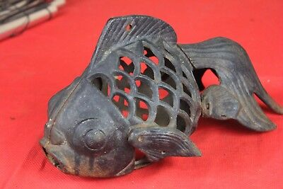 Vintage Cast Iron Fish Koi Goldfish Lamp Hanging Lantern
