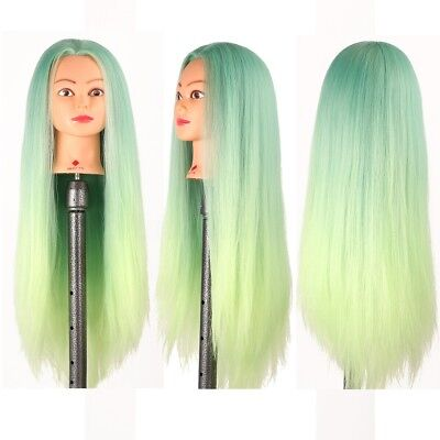 Salon Hairdressing Green Color Long Hair Mannequin Doll Training Head + Clamp UK