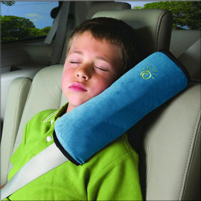 Child Blue Car Vehicle Seat Belt Harness Shoulder Cover Cushion Head Support
