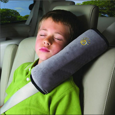 Child Gray Car Vehicle Seat Belt Harness Shoulder Cover Cushion Head Support