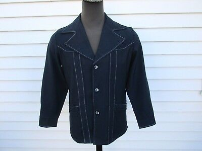 Vintage 70's Polyester Leisure Suit Jacket Navy Blue JCPenney M