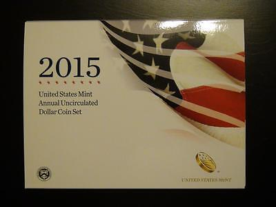 Annual Uncirculated Dollar Coin Set 2015 w/ Burnished W Silver Eagle Low Mintage