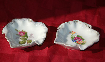 2 Old Vintage Ceramic Butter Pats Rose Pattern w Gold Trim Mid-Century ~ Japan
