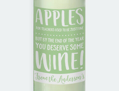 Personalised Apple For The Teacher  4 x Wine Labels - Gift for Teachers