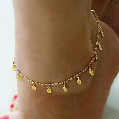 2X Gold Anklet Leg Bracelet Ankle Foot Jewelry Sandal Leaf Adjustable Chain Pop