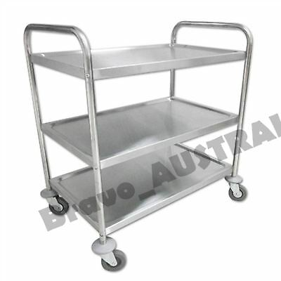 3 Tier Stainless Steel Trolley Service Utility Kitchen Food Cart Dining Island