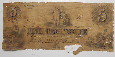 United States 1850s  5 Cent NOTE  Trial?? Very tatty