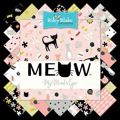 Quilting Fabric Charm Pack - Meow - Cats Cats And More Cats - Riley Blake Fabric