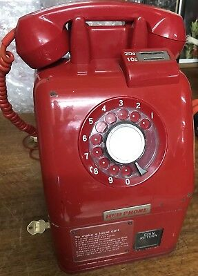 Vintage Red Pay Phone - Telecom Payphone -Telephone - Rare