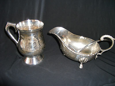 Silver Plated Tankard, and Gravy Boat with Spoon Ref 767