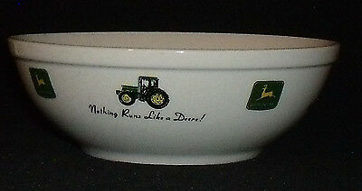 "John Deere Bowl By Gibson Memories Nothing Runs Like A Deer Vtg "" Ceramic"
