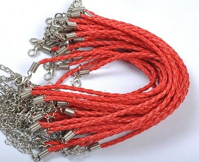 NP754 Wholesale 10pcs Red Color Braided Leather Bracelet Cord 240MM
