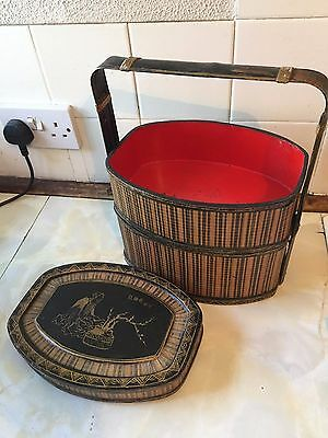 """1920s/30s CHINESE CANE """"WEDDING"""" 2-TRAY RED LACQUER BASKET IDEAL FOR PICNICS"""