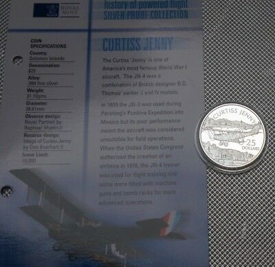 2003 Solomon Island  Silver Proof $25 Coin The History Of Flight Collection {1}