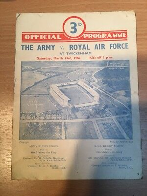 TWICKENHAM  The Army V Royal Air Force March 1946 SIGNED BY THE ARMY TEAM RUBGY