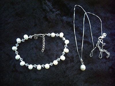Sterling silver Freshwater Pearl bracelet, pendant & chain set Argento boxed