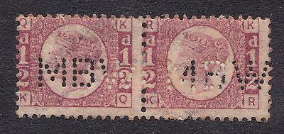 Great Britain  1870 pair 1/2d rose plate 13  MBW  perfin used