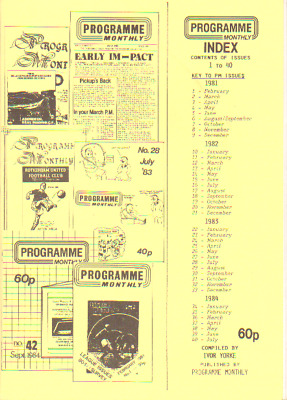 PROGRAMME MONTHLY INDEX OF ISSUES - 1 to 40 FEBRUARY 1981-JULY 1984