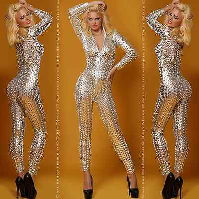 Catsuit Overall Anzug Gogo Body S M L 36 38 40 Clubwear Wetlook