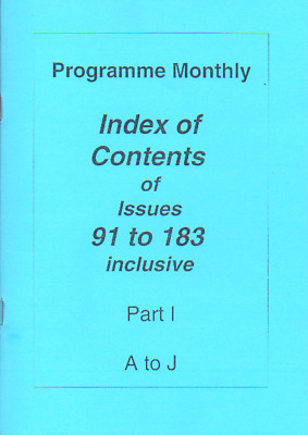 Programme Monthly Index Of Issues - 91-183 Part 1 - A-J