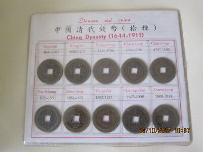 Set Of Chinese Old Coins Ching Dynasty 1644-1911 In Presentation Pack