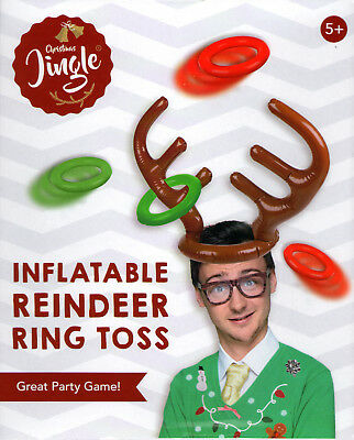 Inflatable Christmas Xmas Reindeer Antler Hat Ring Toss Family Party Game