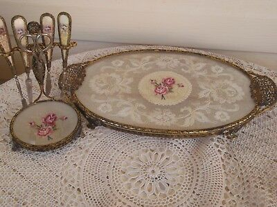 Vintage Petit Point Embroidered Dressing Table Tray and Manicure Set Complete