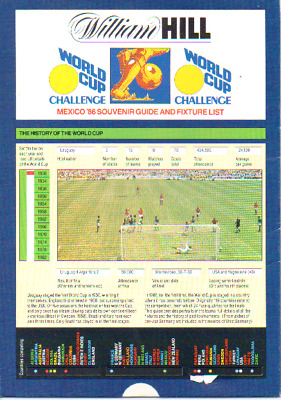 World Cup 1986 Guide - Issued By William Hill