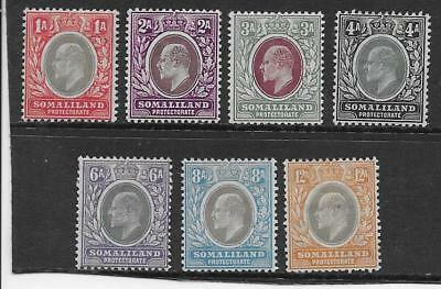 SOMALILAND  SG 46/53  1905/11 WMK MULT CROWN CA SET FROM 1a TO 12a  FRESH MINT