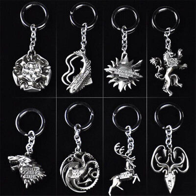 Popular Game Of Thrones Alloy Keychain Silver 3D Metal Key Ring Present Gift