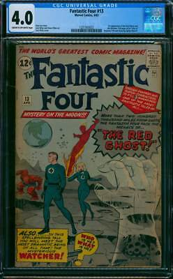 Fantastic Four # 13  The Menace of the Red Ghost !   CGC 4.0 scarce book !