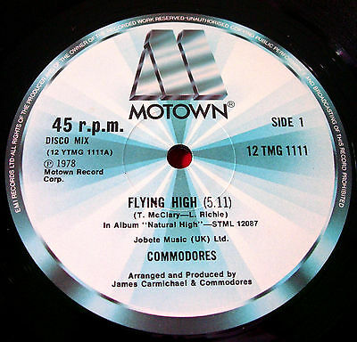 """Commodores Flying High Disco Mix 12""""UK ORIG 1978 Motown bw Funky Situation VINYL"""